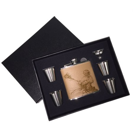 - KuzmarK 6 oz. Leather Flask Set in Black Presentation Box -  Lacrosse