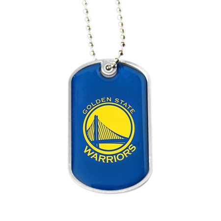 NBA Golden State Warriors Sports Team Logo Domed Dog Tag Necklace - Gold State Warriors