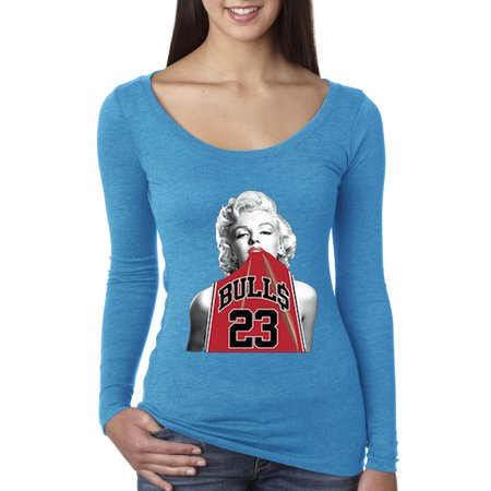 Trendy USA 419 - Women's Long Sleeve T-Shirt Marilyn Monroe Bulls 23 Michael Jordan Jersey XL