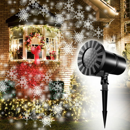 Christmas Snowflake Projector Light, 2018 Upgraded Dynamic Snowfall Projector LED Light Rotating IP65 Waterproof Indoor Outdoor Sparkling Landscape Lighting for Christmas Holiday Halloween Xmas Party