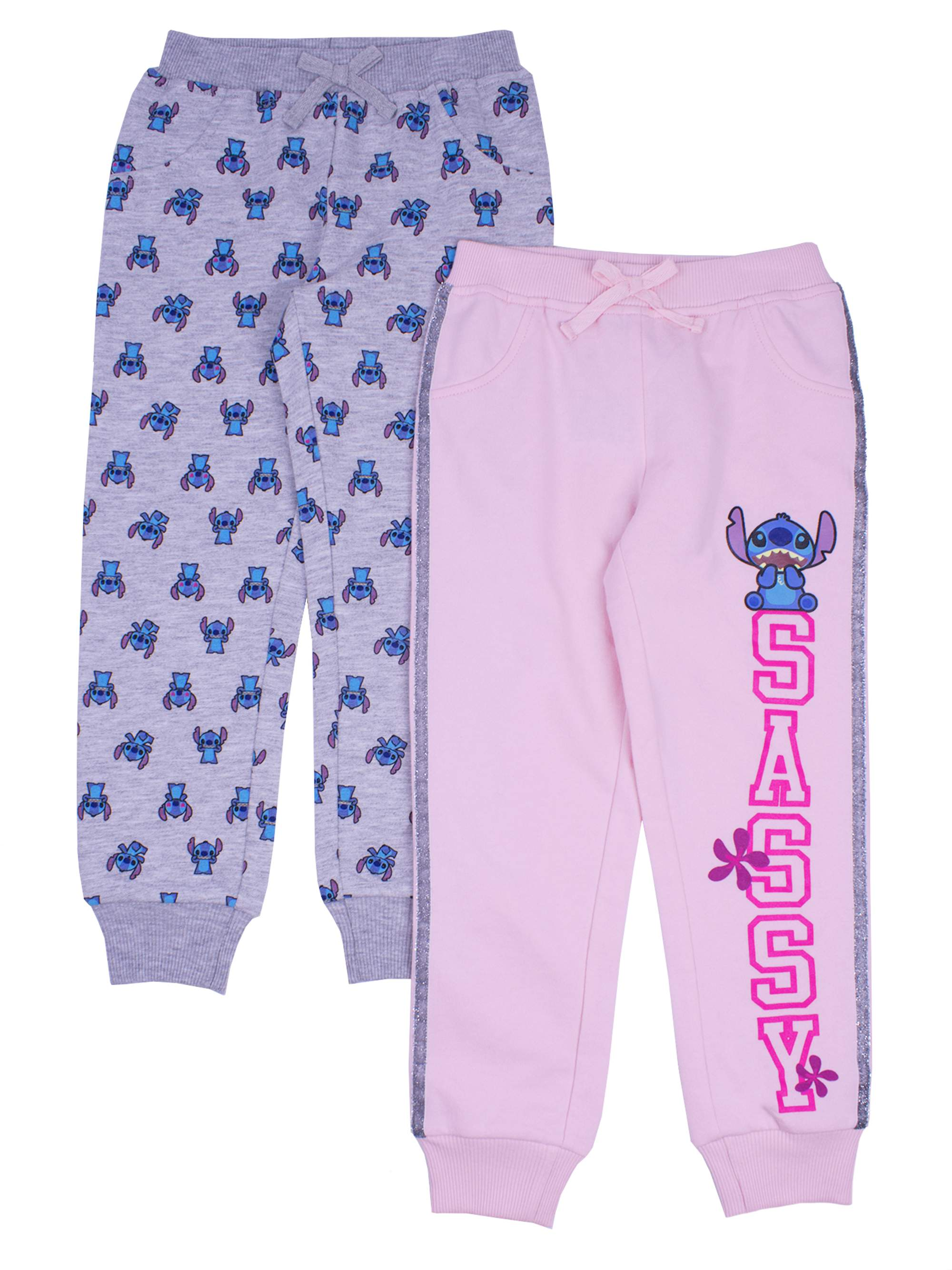 Side Stripe and Printed Joggers, 2-Pack (Little Girls)