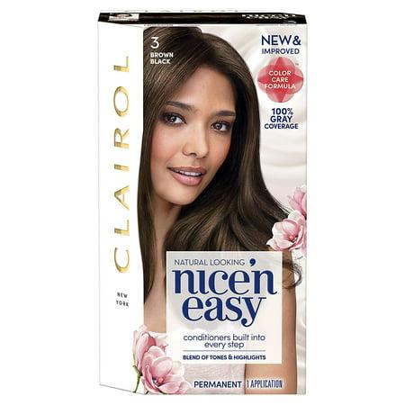 2 Pack Clairol 3 Brown Black Nice'n Easy Hair Color w/ Conditioner, 1 App Each (Clairol Hair Color Black Brown)