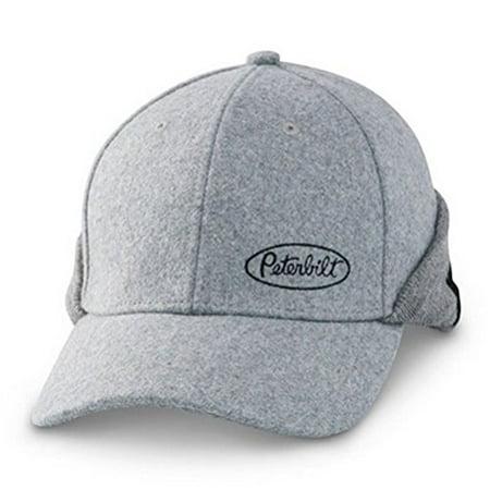 fac3b60ba44 Peterbilt Motors Trucks Grey Wool Flipback Cap Hat with Neck Protection -  Walmart.com