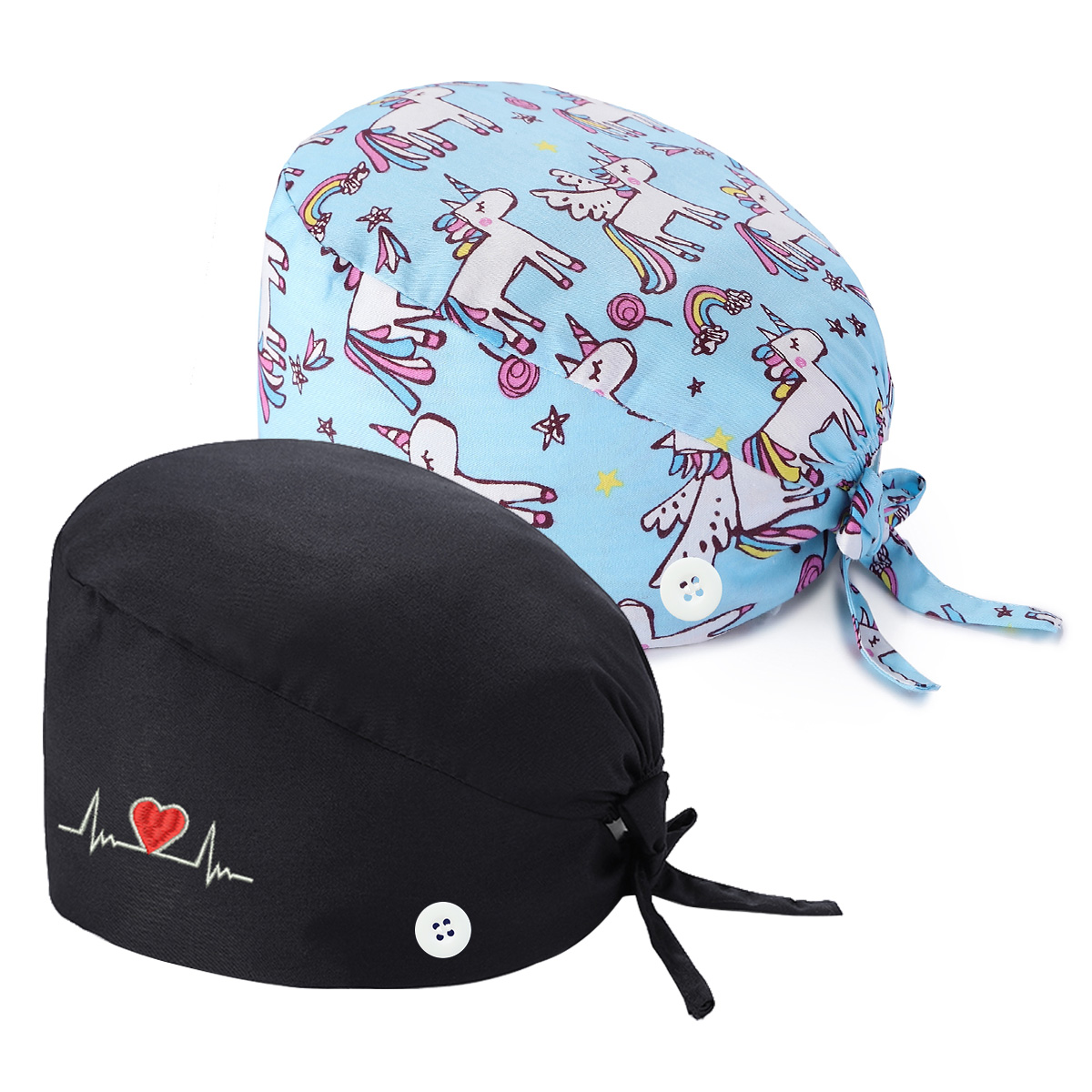 Details about  /100/% Cotton Christmas Tree Ponytail Scrub Cap With Mask Buttons