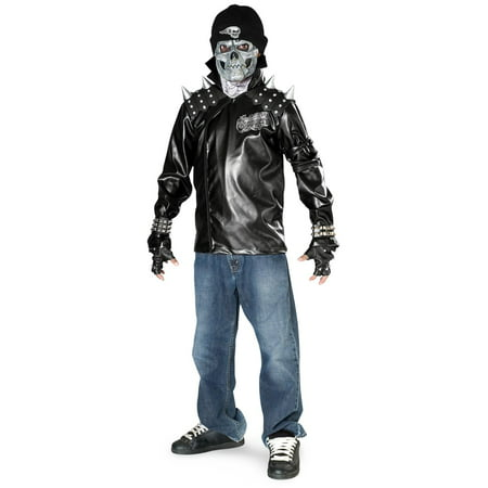 Metal Skull Biker Child Costume - Medium - Half Skull Costume