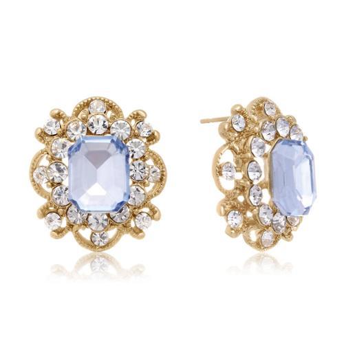 Adoriana Blooming Aquamarine Stud Earrings, Gold Overlay, Pushbacks