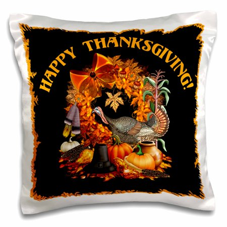 - 3dRose Thanksgiving featuring a wild turkey, Native American and Pilgrim themes, the Fall harvest and more, Pillow Case, 16 by 16-inch
