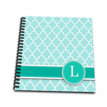 Monogram Memory (3dRose Personalized letter L aqua blue quatrefoil pattern Teal turquoise mint monogrammed personal initial - Memory Book, 12 by 12-inch )