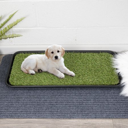 Ottomanson Indoor/Outdoor Grass Pee Pad Potty, Pet Puppy and Dog Training Pad and Tray (Peek Tube)