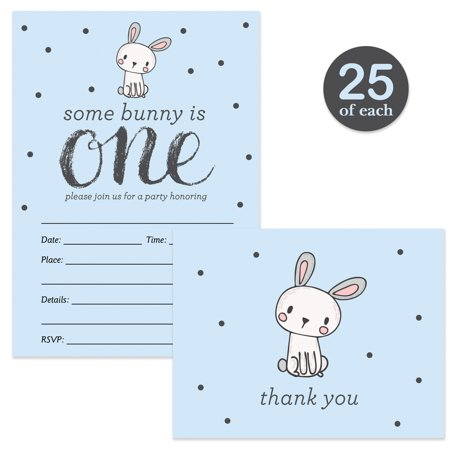 Baby Boy 1st Birthday Invitations ( 25 ) & Matching Thank You Cards ( 25 ) with Envelopes Cute Blue Bunny Rabbit Fill-In Invites & Folded Thank You Notes One Year Old Son First Bday (Birthday Invite Message For 1 Year Old)
