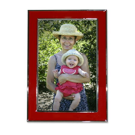 Silver Plated 5x7 Metal with Red Enamel Picture (Red Frame Png)