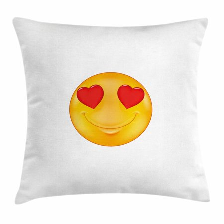 Love Throw Pillow Cushion Cover, Cartoon Smiley Face Hearts for Eyes Emoticon Adoration Romantic Illustration, Decorative Square Accent Pillow Case, 16 X 16 Inches, Marigold Red White, by Ambesonne - Heart Emojicon