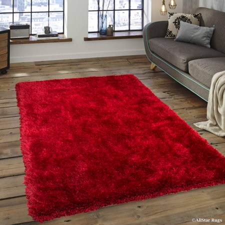 - Allstar Red High Density and High Quality High End Shaggy Area Rug. Very Soft Extra comfort (7' 7