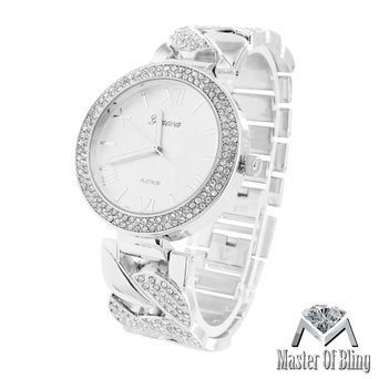 White Gold Tone Watch Twisted Link Design Lab Created Cubic Zirconias Iced Out Geneva Steel New