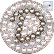 Bella Crystal Golf Ball Marker & Hat Clip - Initials Collection - D (Graphite)
