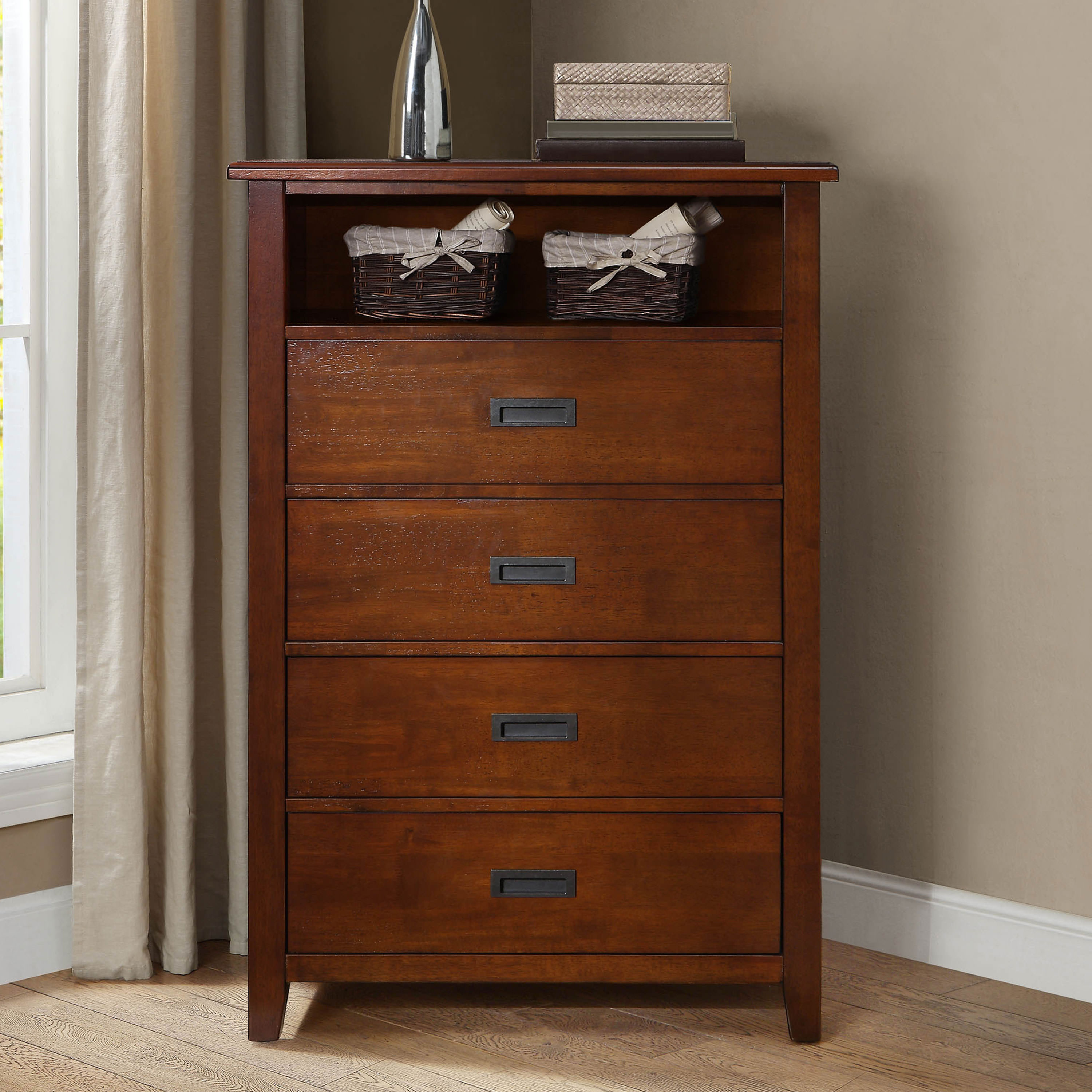 Better Homes & Gardens Maddox Crossing 4-Drawer Dresser, Warm Brown Finish