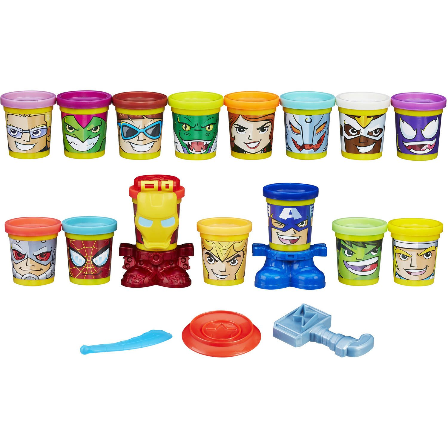 Play-Doh Marvel Super Smash-Up with Can-Heads (15 cans), 15 can of play doh and 6 accessories By PlayDoh