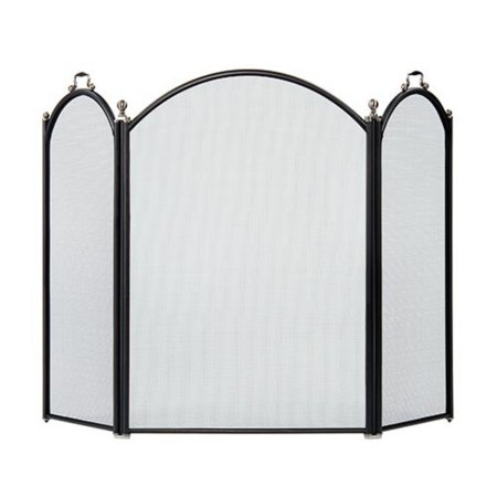 Minuteman International Arched 3-Fold Arched Fireplace Screen - Black and Pewter