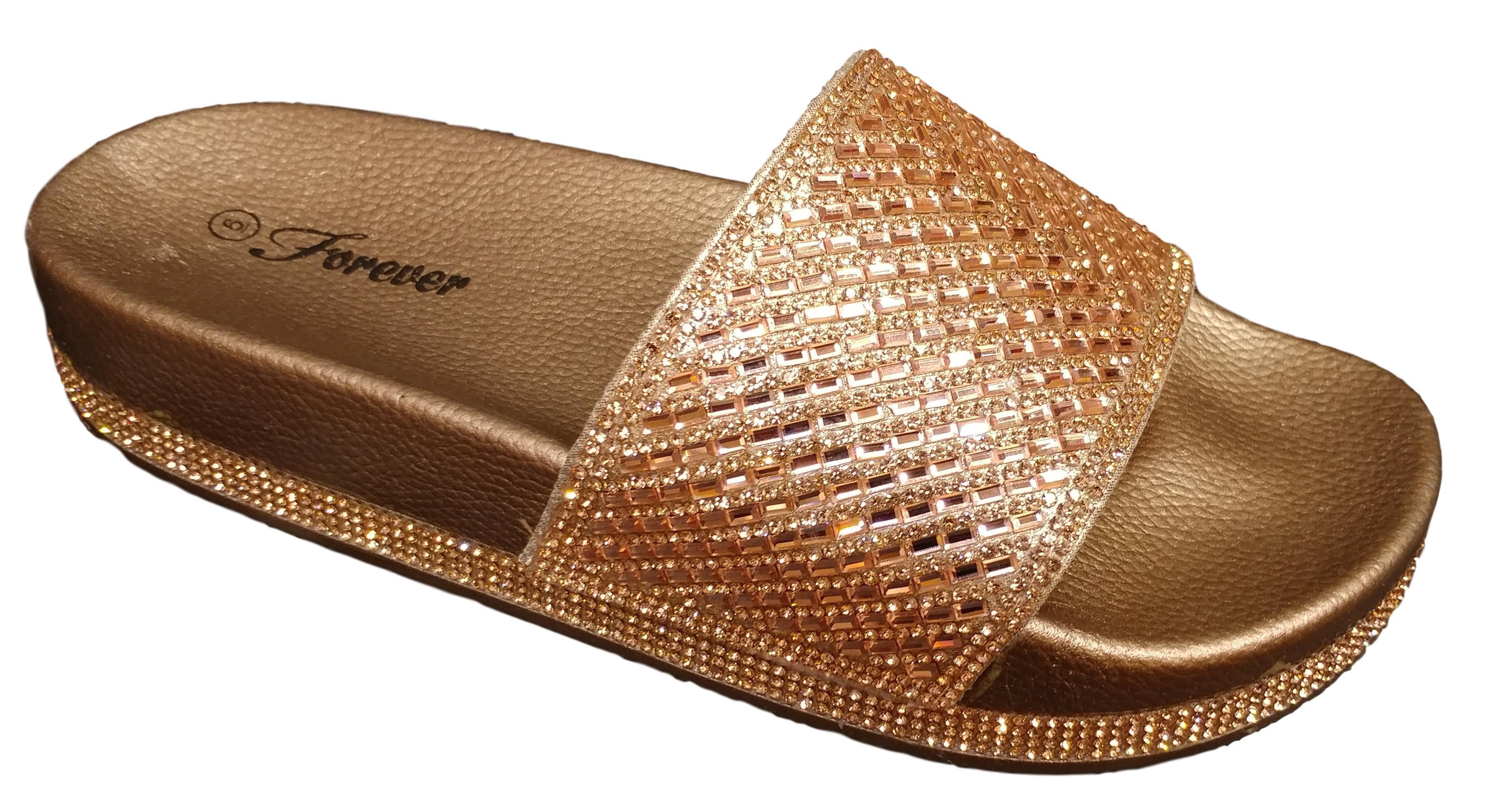 200ac88502f946 Forever - Forever Women s Viste 12 Rose Gold Rhinestone Slide Sandal Size  6