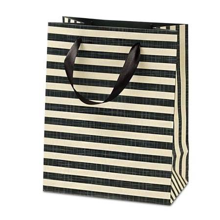 """12ea - 7 X 4 X 9 Deep Forest/Ivory Haute Stripe Euro Tote Gusset - 4"""" Width 7"""" by Paper Mart"""