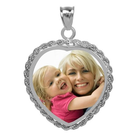 Personalized Sterling Silver, Gold Plated, 10k or 14k Heart Shaped Black and White Photo Charm With Rope Border 14k Gold Heart Shaped Locket