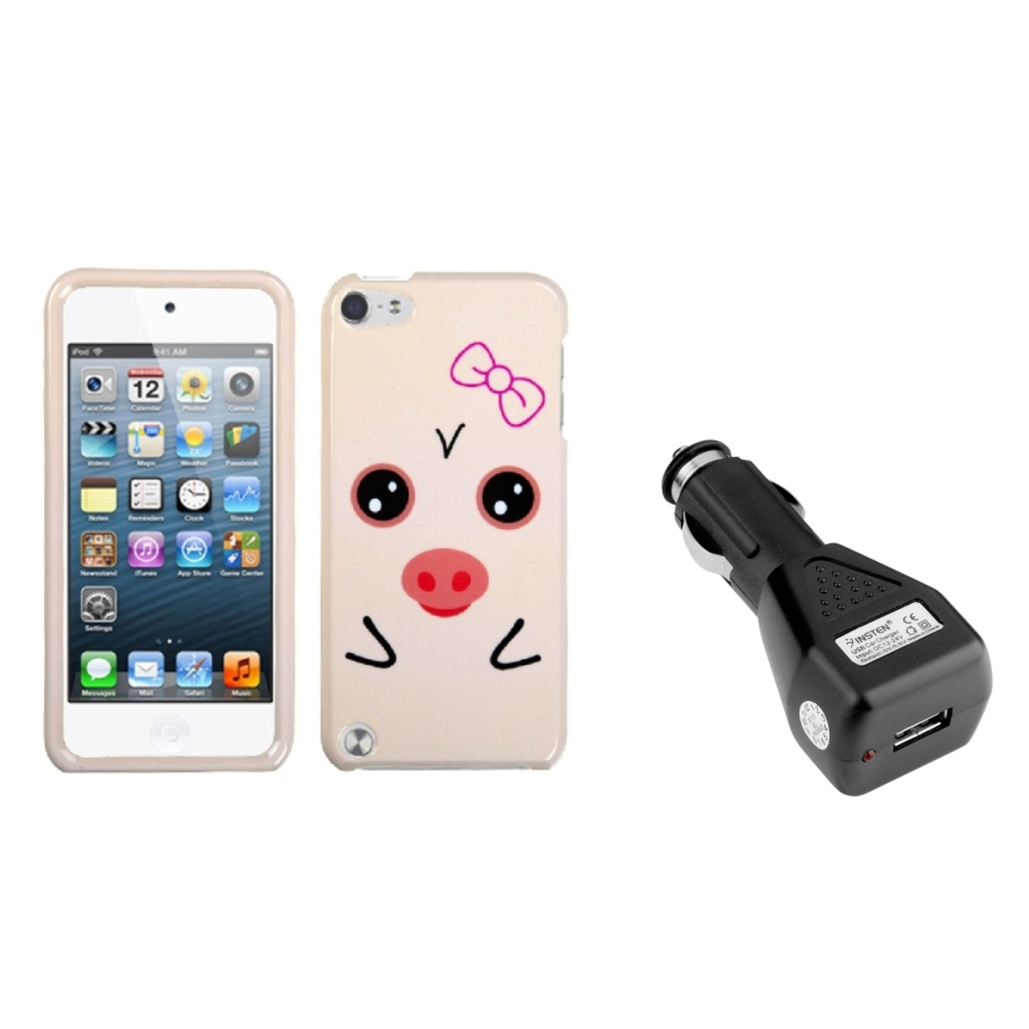Insten Hungry Piggy Phone Cover�� Case For iPod Touch 6 6G 5 5G +USB Car Charger