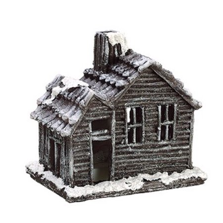 Country Cabin Lighted Glittered Snowed Flocked House Table Top Christmas Decoration 7