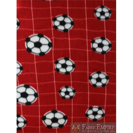 Soccer Ball Net - Fleece Fabric Printed ANTI PILL NET SOCCER BALL RED