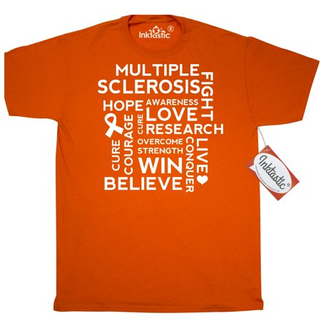 Inktastic Multiple Sclerosis Walk Support T-Shirt M.s. Awareness Hope Cure Research Event Slogan Word Cloud Gift Month World Ms Day Orange Ribbon Mens Adult Clothing Apparel Tees T-shirts (Winter Walking Clothes)