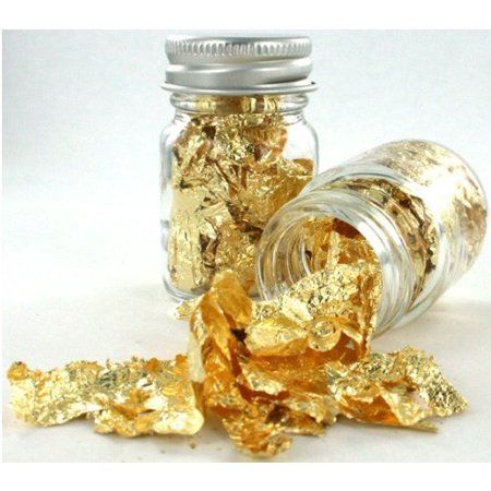 Zink Color Gold Leaf Flake Elegant Eye Body Makeup 1Oz Glass Bottle