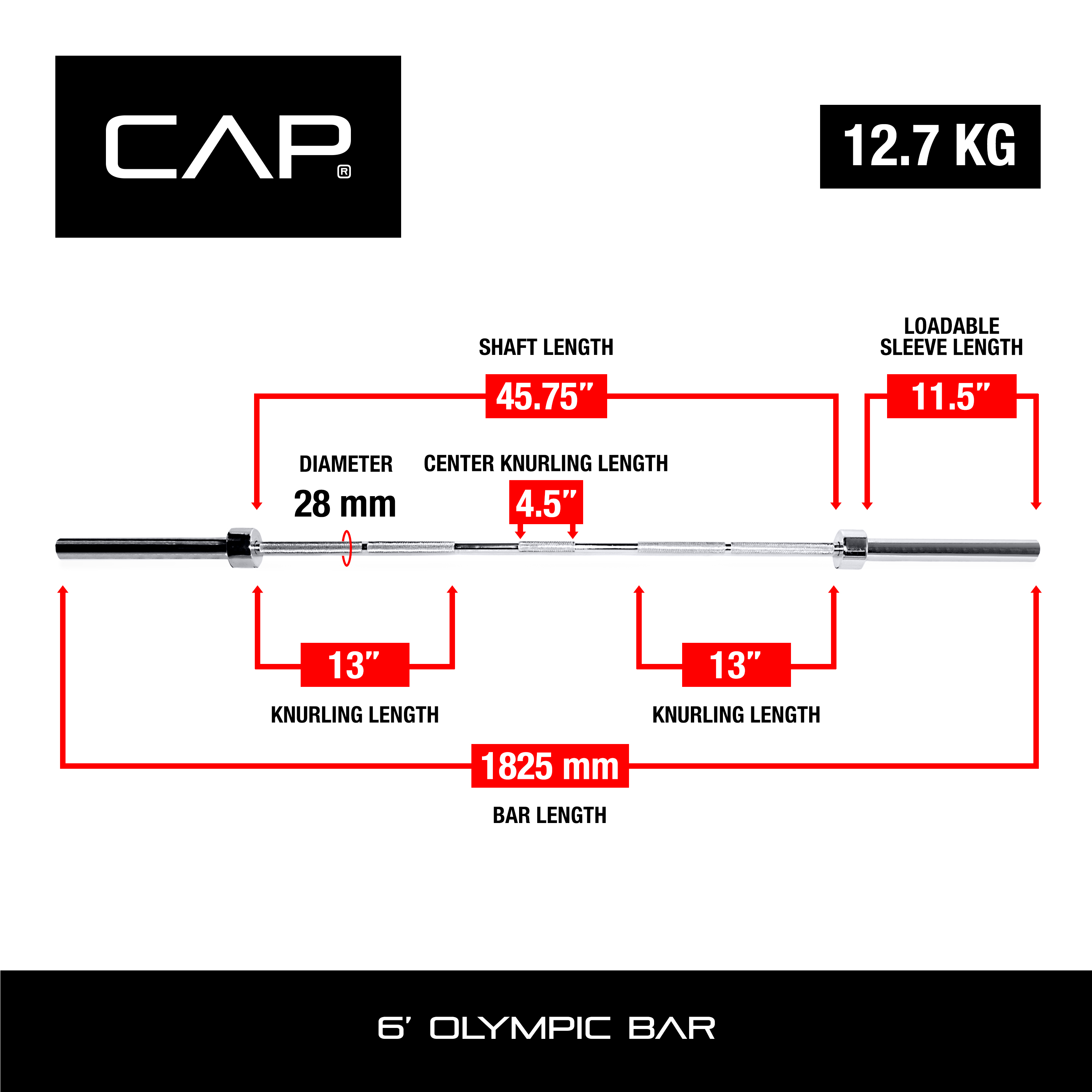 CAP Barbell Olympic Weight Bar, 5-7 ft
