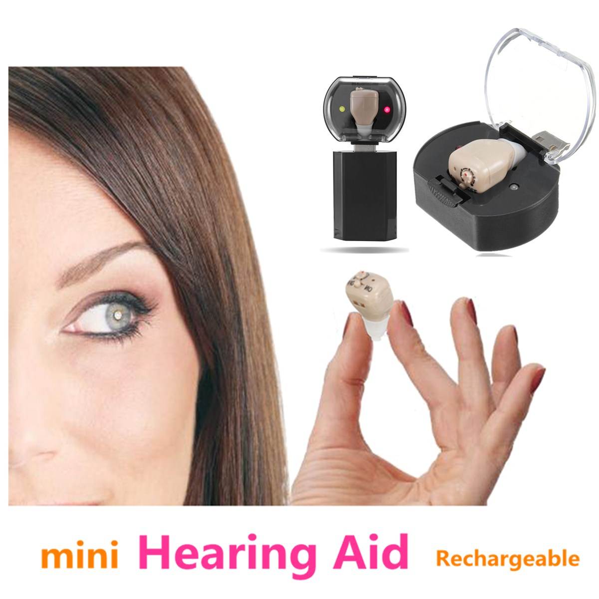 Best Rechargeable Mini In Ear Hearing Aids Kit Digital Sound Amplifiers with Adjustable Volume Tone Control Voice Assisted Listening Device