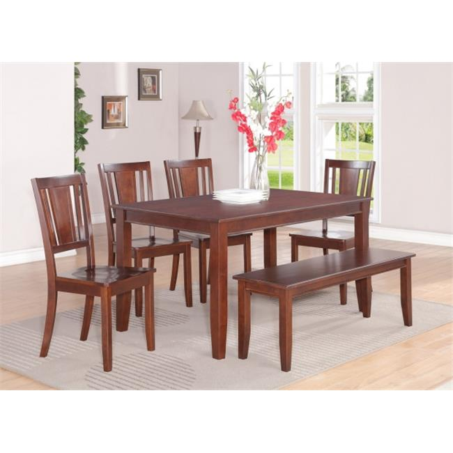 Wooden Imports Furniture DU7-MAH-W 7 PC Dudley 36 in. x 60 in. Table and 6 Wood Seat Chairs in Mahogany Finish