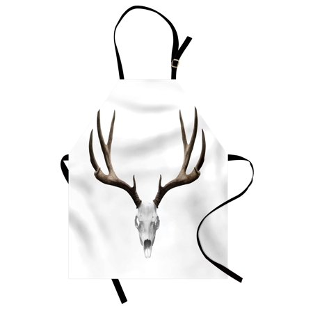 Antlers Apron A Deer Skull Skeleton Head Bone Halloween Weathered Hunter Collection, Unisex Kitchen Bib Apron with Adjustable Neck for Cooking Baking Gardening, Warm Taupe Pale Grey, by Ambesonne