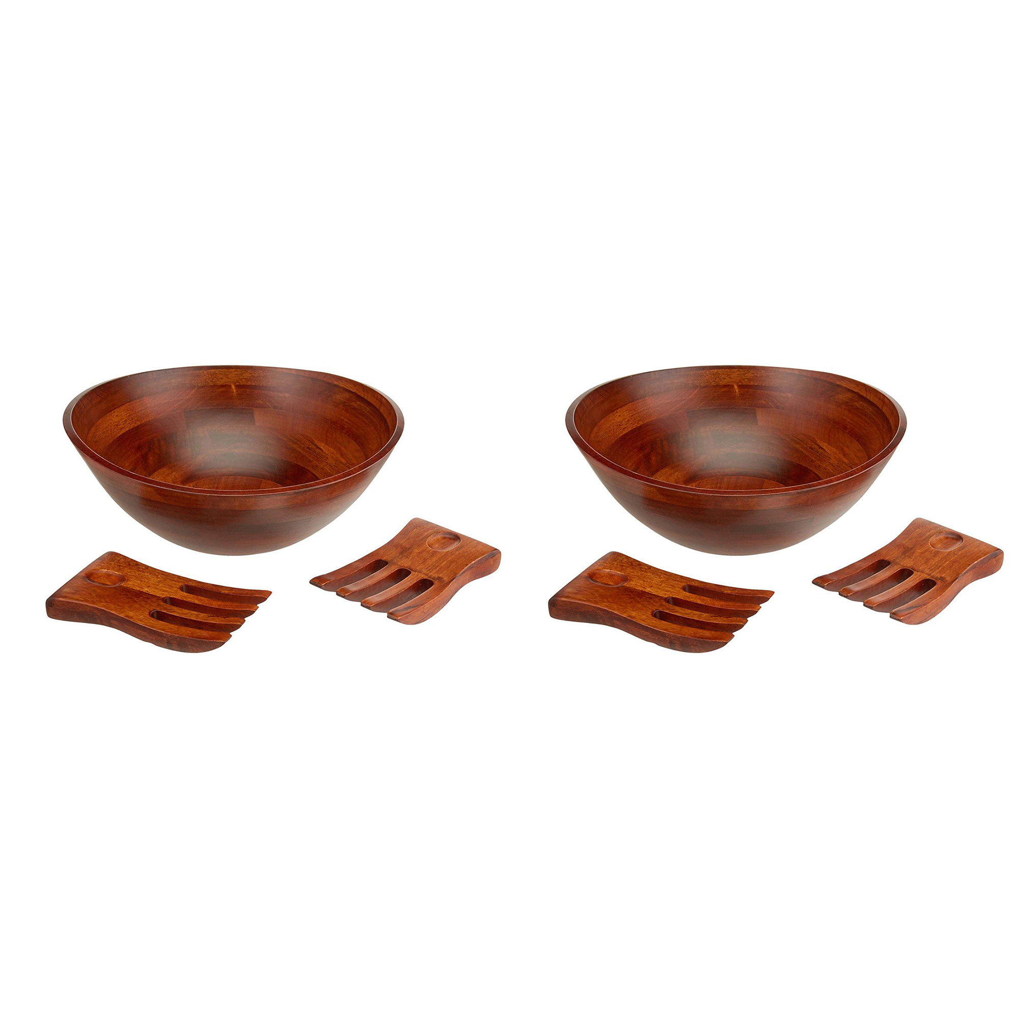 Lipper International Cherry Finished Wavy Rim Bowl with Salad Hands Set (2 Pack)