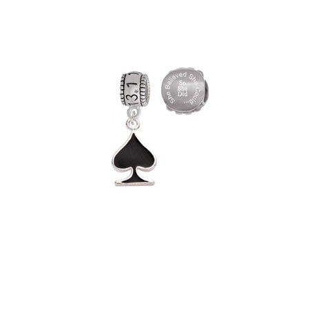 Silvertone Card Suit - Black Spade 13.1 Half Marathon Run She Believed She Could Charm Beads (Set of 2) (Card Suit Jewelry)