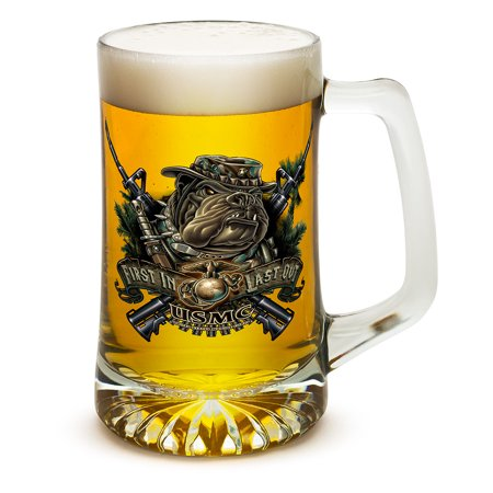 Beer Mugs with Handles – US Marine Corps Tankard Beer Mug – Devil Dog First In Last Out Marine Gifts for Men or Women – Beer Glasses with Logo – Set of 12 (25 Ounces)