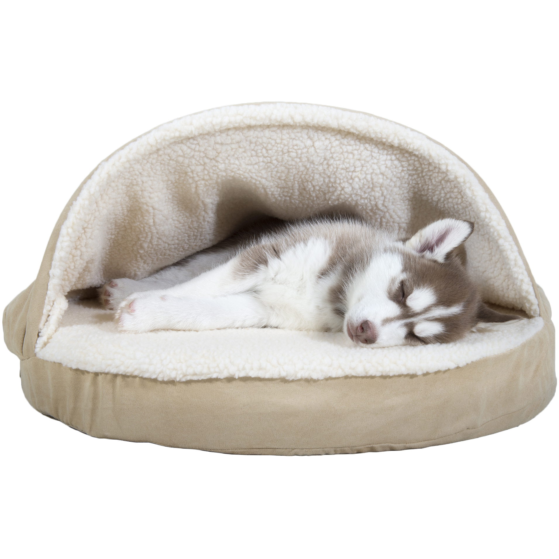"Furhaven 26"" Faux Sheepskin Snuggery Orthopedic Pet Bed Cream"