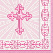 Radiant Cross Religious Paper Beverage Napkins, 5in, Pink, 16ct