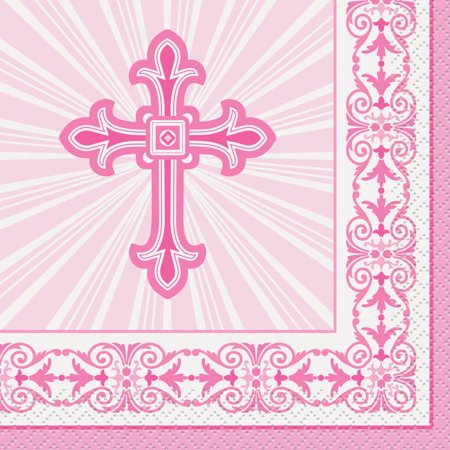 Radiant Cross Religious Beverage Napkins, 5 in, Pink, 16ct ()