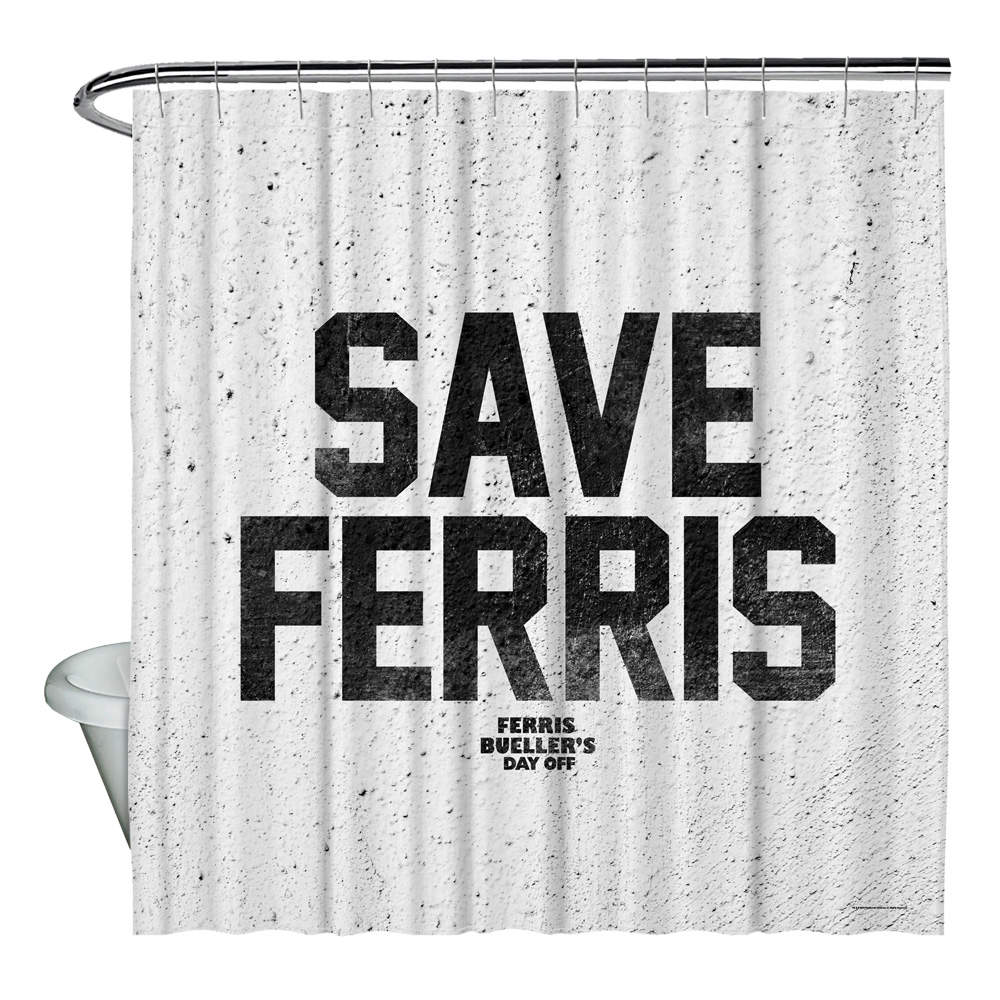 Ferris Bueller Save Ferris Shower Curtain White 71X74