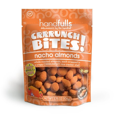 CrrrunchBites Nacho Almonds (3-Pack) by Handfulls. Whole Roasted Almonds Wrapped in a Potato Chip for a Satisfying Crunch. Gluten-free, Non-GMO, Vegetarian (3.75 oz Bags) 3-Pack
