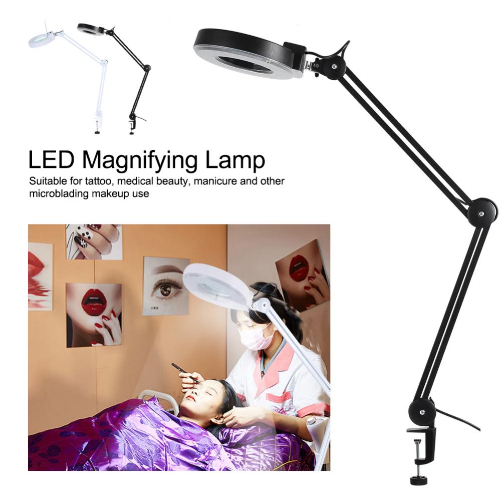 WALFRONT Beauty Cosmetic Tattoo 5x Magnifying 110V LED Lighted Desk Magnifier Light Lamp With Clamp, Magnifying Desk Light, Magnifying Lamp