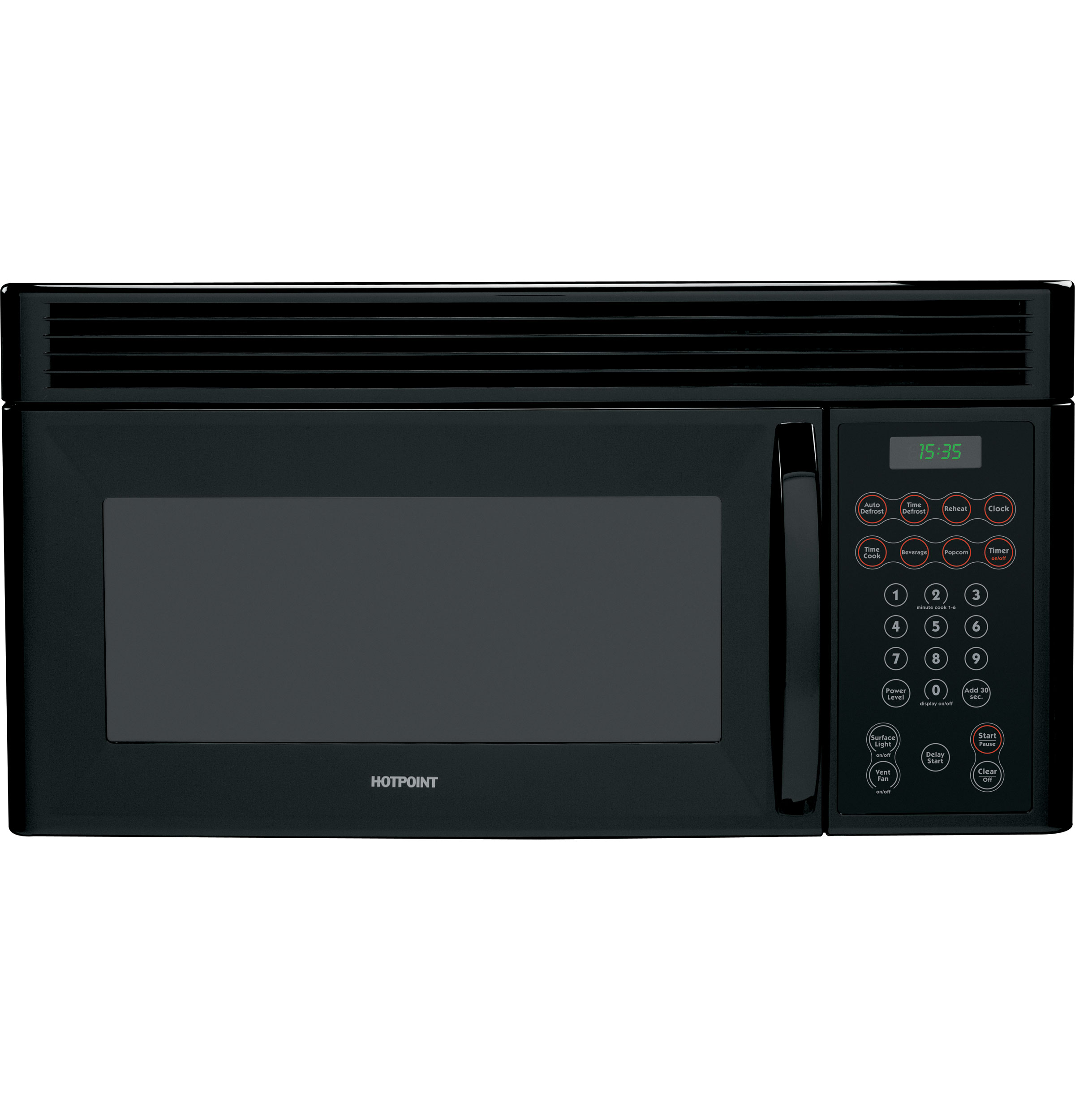 GE HOTPOINT 1.6 CU. FT. OVER-THE-RANGE MICROWAVE OVEN BLACK