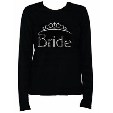 - Rhinestone Womens T Shirt Bride JRW-143 - S / Womens Long Sleeve Crewneck T-Shirt