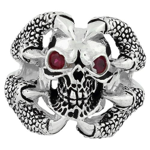 Sterling Silver Red Cubic Zirconia Claw of the Beast Skull Ring 17