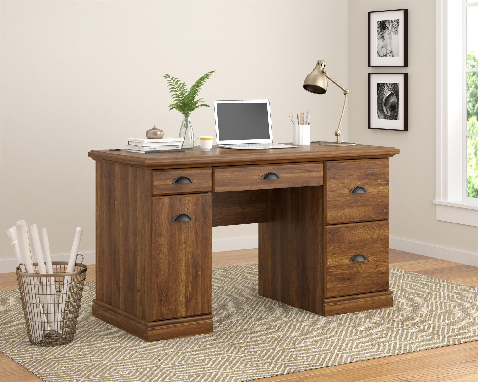 Better Homes And Gardens Computer Desk, Brown Oak Image 4 Of 4