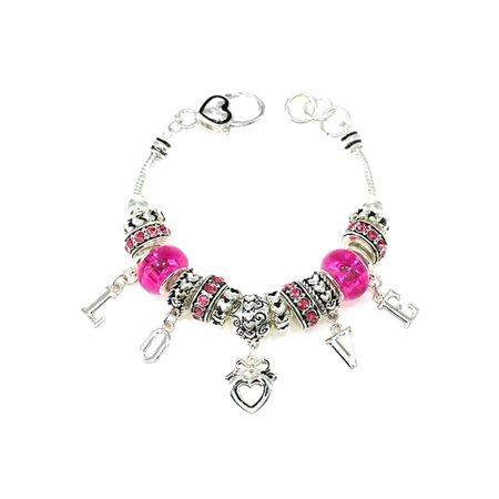 Silver Tone Valentine's Day Cute Girls Bead Charm 7.5