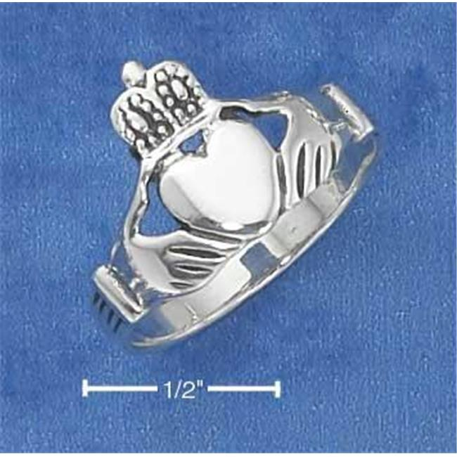 Sterling Silver Large Claddagh Heart In Hands Ring with Antiqued Finish - Size 4