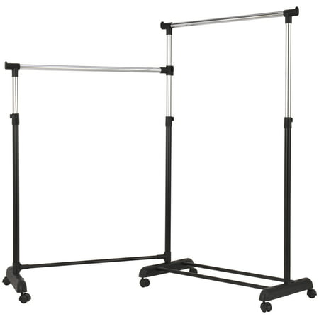 Mainstays Chrome & Black Adjustable Rolling Corner Garment